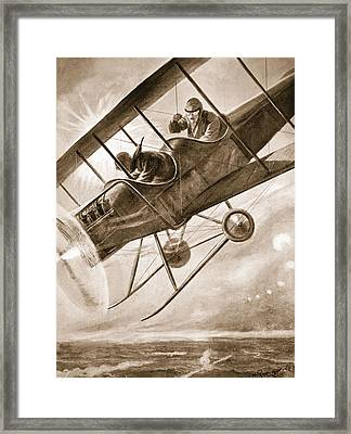 Captain Liddell Piloting His Aeroplane Framed Print