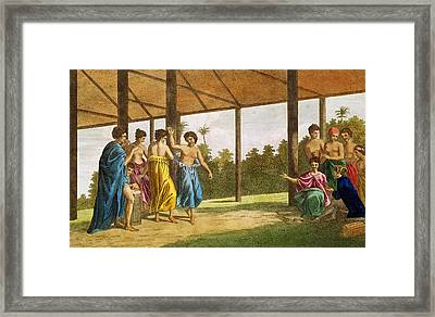 Captain Wallis, On His Arrival In Otaheite, In Conversation With Oberea The Queen Engraving Framed Print by English School