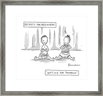 Captionless: Beckett For Beginners: Waiting Framed Print by Danny Shanahan