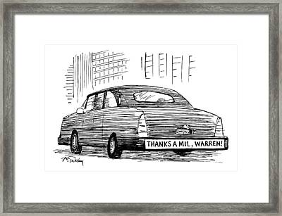 Captionless. Bumper Sticker On Car Reads: Thanks Framed Print by Mike Twohy