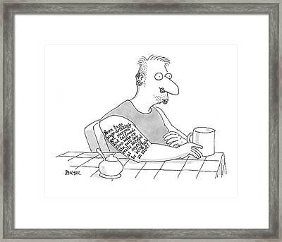 Captionless: Long Tattoo On Arm Of Man Drinking Framed Print