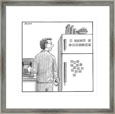Captionless. Man In Pajamas Making Coffee Looks Framed Print