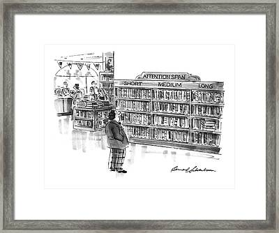 Captionless A Library Book Shelf Is Divided Framed Print