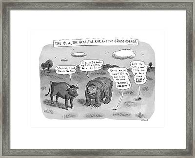 Captionless The Bull Framed Print by Roz Chast