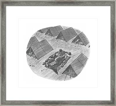 Captionless Top Has Blown Off Tent. Two Soldiers Framed Print