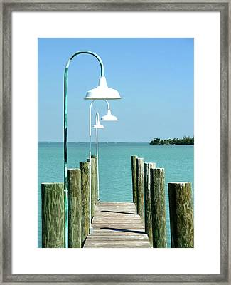 Captiva Island Pier Two Framed Print by Richard Mansfield