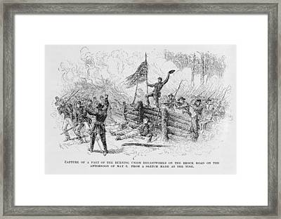 Capture Of A Part Of The Burning Union Breastworks On The Brock Road On The Afternoon Of May 6th Framed Print by Alfred R. Waud