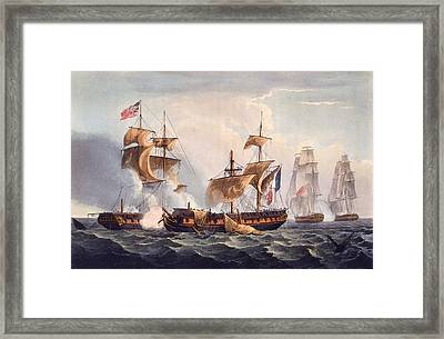 Capture Of La Minerve Framed Print by Thomas Whitcombe