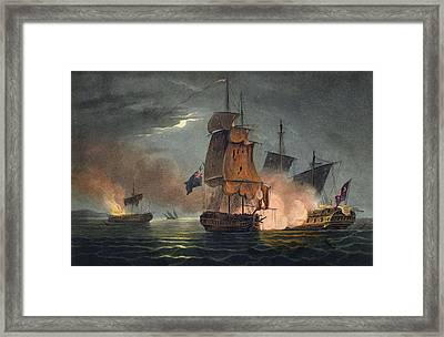 Capture Of The Badere Zaffer Framed Print by Thomas Whitcombe