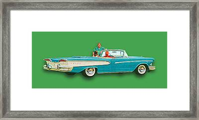 Edsel Car Advertisement Convertible Green Framed Print by Tony Rubino