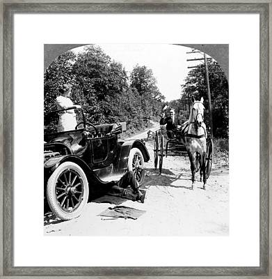Car And Carriage, 1914 Framed Print by Granger