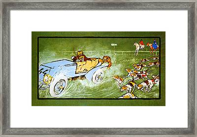 Car And Hunting Fox Framed Print