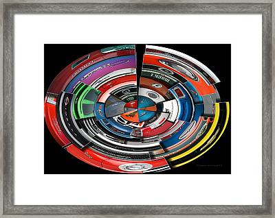 Car Badges Collage Polar View Framed Print by Thomas Woolworth