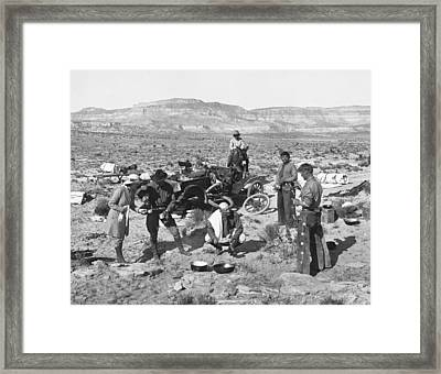 Car Broken Down In The Desert Framed Print by Underwood Archives
