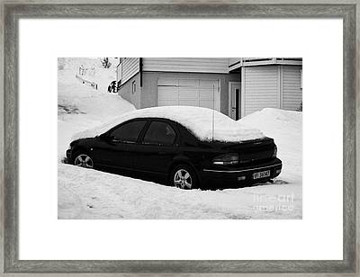 Car Buried In Snow Outside House In Honningsvag Norway Europe Framed Print