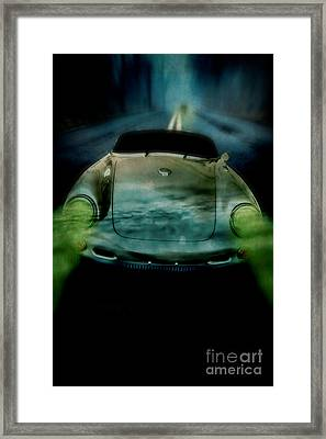 Car Chase At Night Framed Print by Edward Fielding