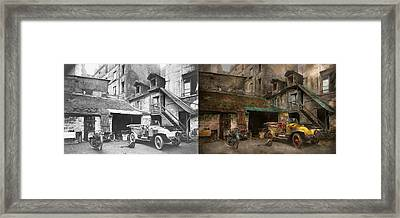 Car - Cour Rue De Valencemm France - A Sunday Afternoon - 1925 - Side By Side Framed Print by Mike Savad