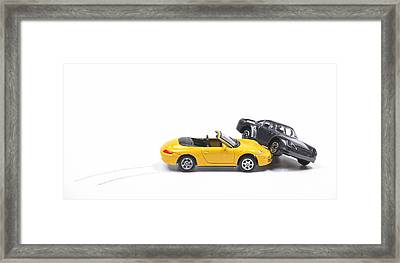 Car Crash Between Sportscar And Sedan Framed Print