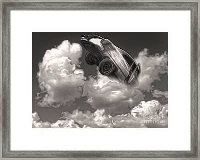 Framed Print featuring the painting Car Crash In The Clouds by Gregory Dyer