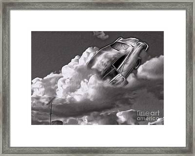 Framed Print featuring the painting Car Crash In The Clouds - Number 2 by Gregory Dyer