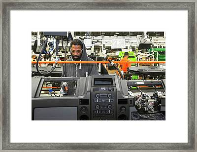 Car Dashboard Assembly Line Framed Print by Jim West