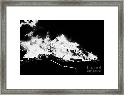 car driving past 11th night bonfire in Monkstown Framed Print