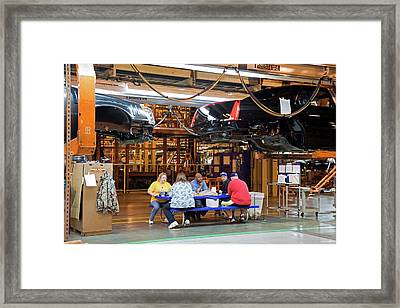 Car Factory Workers Eating Lunch Framed Print