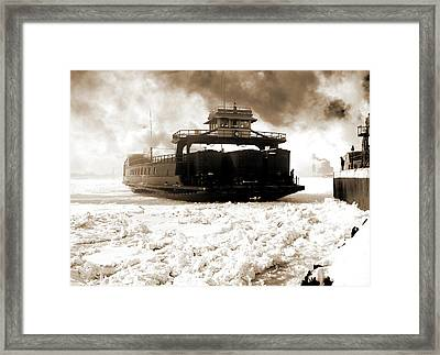 Car Ferry, Michigan Central, Entering Slip, Detroit River Framed Print by Litz Collection