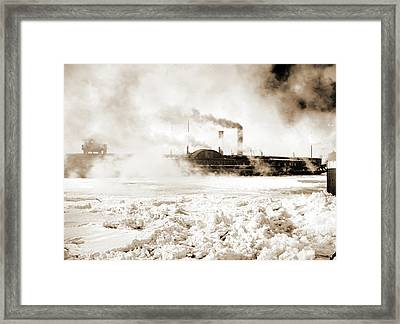 Car Ferry Turning In Ice, Detroit River, Michigan Central Framed Print by Litz Collection