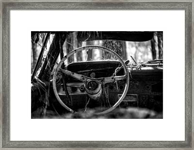 Car In The Woods In Black And White Framed Print by Greg Mimbs