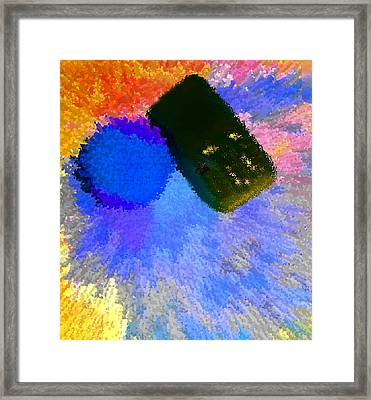 Car Next To Blue Tree In Rain 2 Framed Print by Bruce Iorio