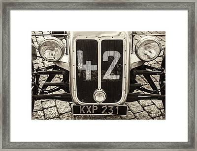 Car Number 42 Bw Framed Print
