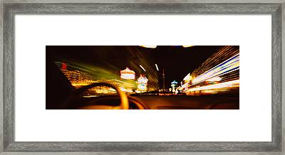Car On A Road At Night, Las Vegas Framed Print