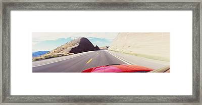 Car On A Road, Outside Las Vegas Framed Print by Panoramic Images