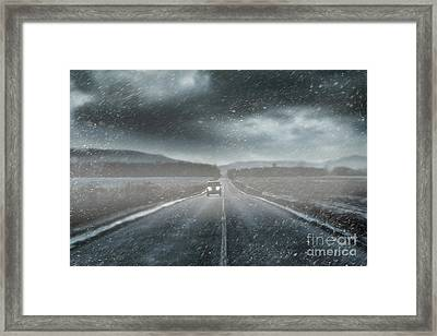 Car On Rural Road In Early Winter Framed Print by Sandra Cunningham
