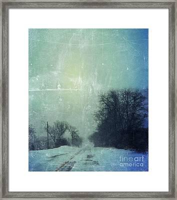 Car On Snowy Road At Dusk Framed Print