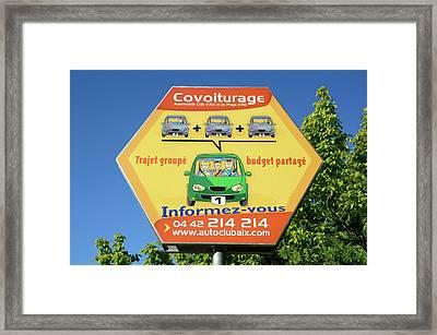 Car Share Advert Framed Print