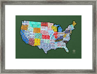 Car Tag Number Plate Art Usa On Green Framed Print by Design Turnpike