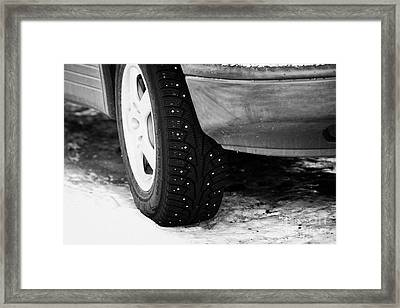 Car With Studded Winter Tyres Parked On Ice In Kirkenes Finnmark Norway Europe Framed Print
