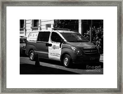 carabineros de chile national police radio patrol riot van vehicle in downtown Santiago Chile Framed Print