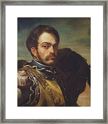 Carabinier Officer With His Horse, C.1814 Oil On Canvas Framed Print