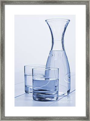Carafe Of Water And Two Glasses Framed Print by Colin and Linda McKie