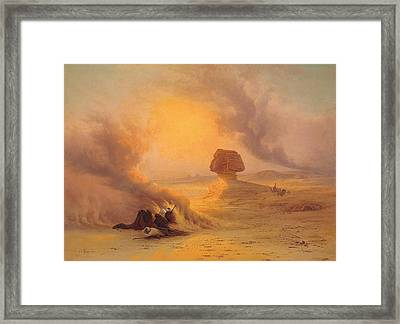 Caravan Caught In The Sinum Wind Near Gizah Framed Print by Johann Jakob Frey