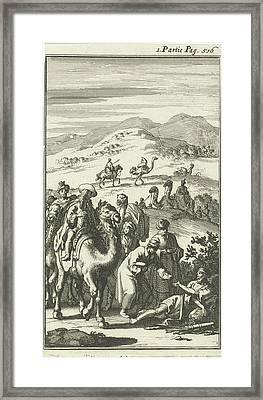 Caravan Finds A Sick Arab On The Road, Jan Luyken Framed Print