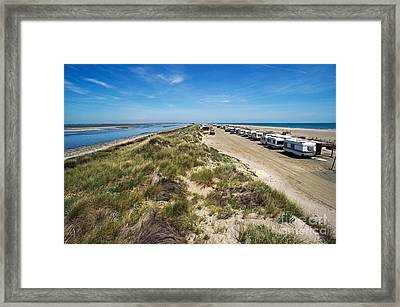 Caravans Aligned On Beach Framed Print by Sami Sarkis