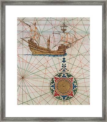 Caravel In Ocean Framed Print by Lazaro Luis