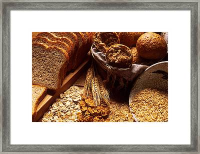 Carbohydrates Bread And Grains Framed Print by Science Source