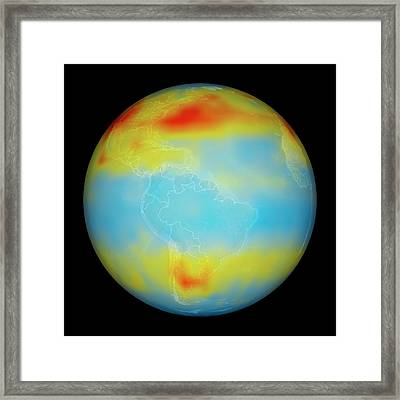 Carbon Dioxide Levels Framed Print by Nasa/goddard Space Flight Center/jet Propulsion Laboratory Scientific Visualization Studio