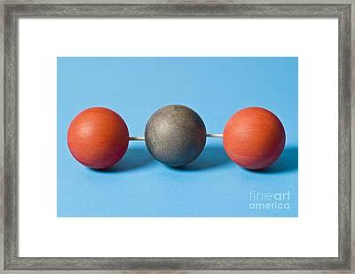 Carbon Dioxide Molecule Framed Print by Martyn F. Chillmaid