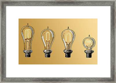 Carbon Filament Light Bulbs, 19th Framed Print by Science Source